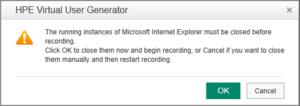 Alert - Rozpoczęcie nagrywania skryptu na uruchomionej przeglądarce